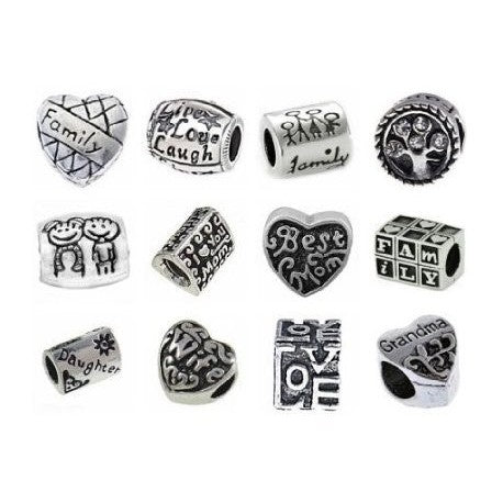 10 Assorted Family Charm Spacer Beads. Fits All Major Charm Bracelets.