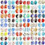 Ten Assorted Colored Murano Glass Bead Charms. Fits All Major Charm Bracelets.
