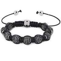10mm Black And Silver Rhinestone Shamballa Style Bracelet.