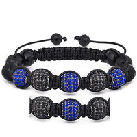 10mm Blue And Black Rhinestone Shamballa Style Bracelet.