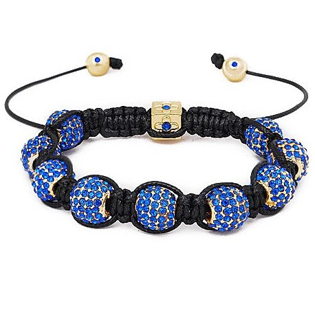 10mm Blue And Gold Rhinestone Shamballa Style Bracelet.