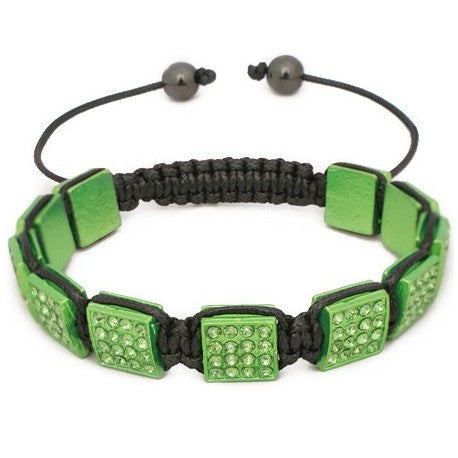 10mm Light Green Rhinestone Shamballa Style Bracelet.