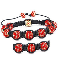 10mm Red And Gold Rhinestone Shamballa Style Bracelet.