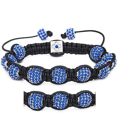 10mm Silver and Blue Rhinestone Shamballa Style Bracelet.