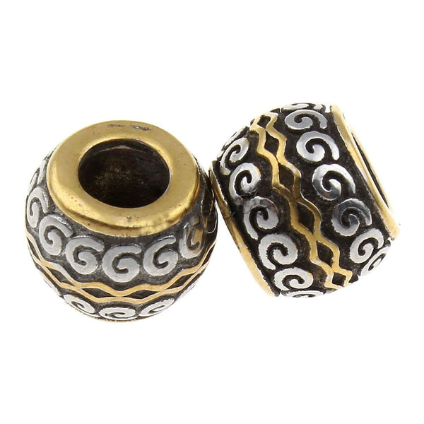 Stainless Steel Black , Silver, and Gold Spacer Charm Bead