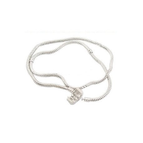 "19"" Silver Plated Barrel  Necklace"
