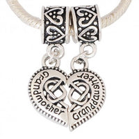 2 Piece Grandmother & Granddaughter Heart Dangle Charm Bead