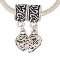 2 Piece Mother & Son Heart Dangle Charm Bead