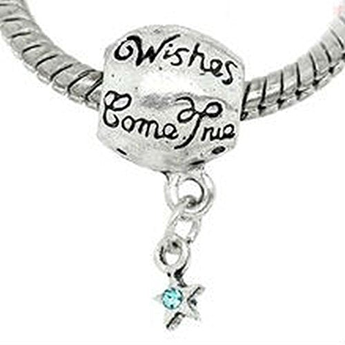 Aqua Blue Rhinestone Wishes Come True Charm Bead