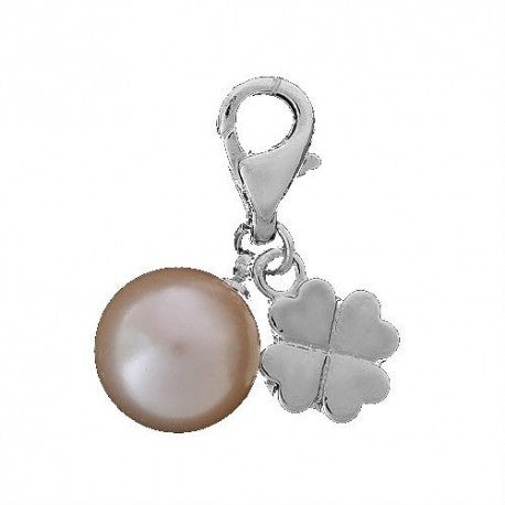 4 Leaf Clover Pearl Clip On Charm With Lobster Clasp