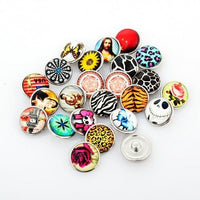 5 Assorted Colorful Designed Glass Snap Button Chunk Charms