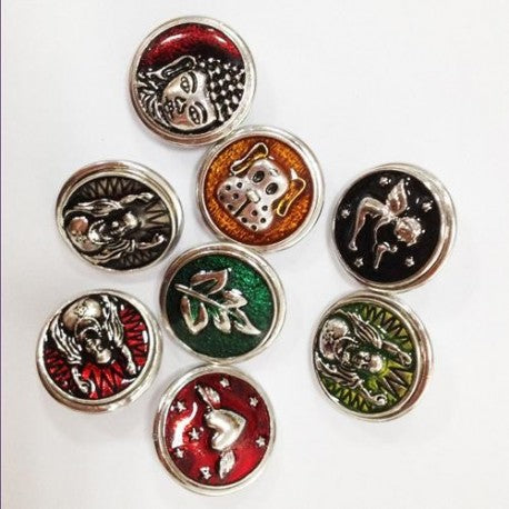 5 Assorted Colorful Metal Enamel Snap Button Chunk Charms