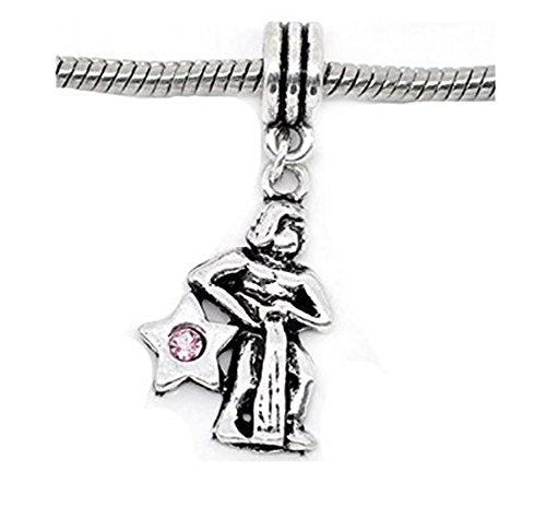 Pink Rhinestone Aquarius Zodiac Dangle Charm