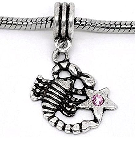 Pink Rhinestone Scorpio Zodiac Dangle Charm