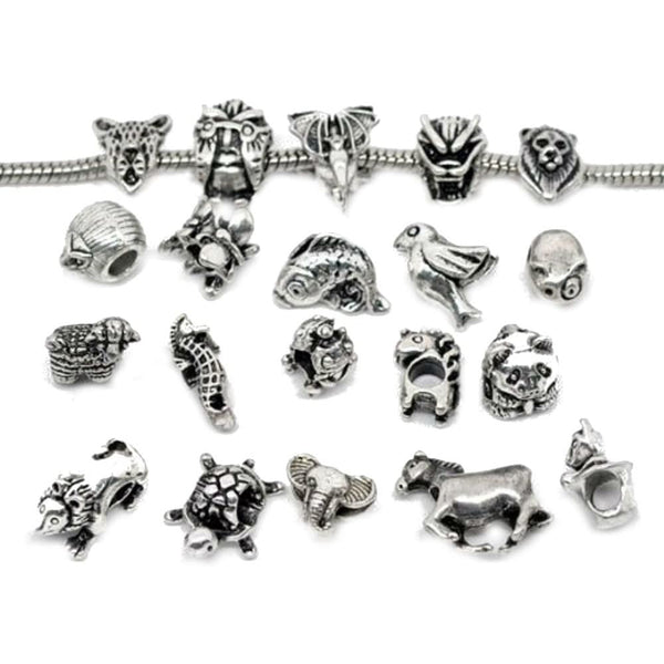 Pack of 10 Assorted European Style Animal Charm Beads