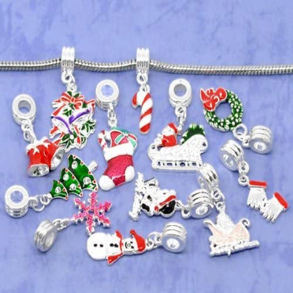 Pack of 5 Assorted Enamel Christmas Inspired Dangle Charm Beads