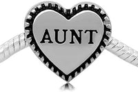 Buckets of Beads Stainless Aunt Heart Charm Bead