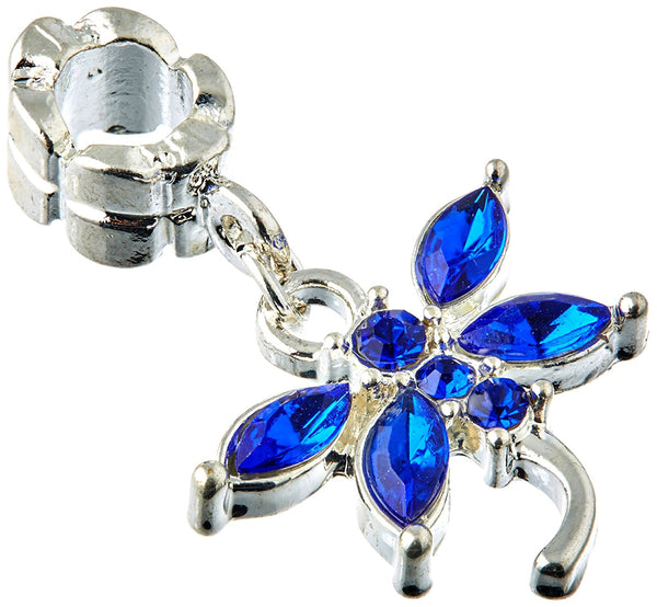 Blue Rhinestone Dragonfly Dangle Charm Bead