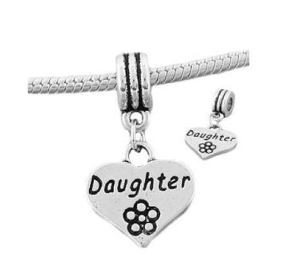 Daughter Heart Dangle Charm