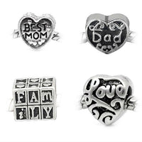 Pack of (4) Four Mom, Dad, Love, Family Charm Spacer Beads