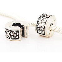 (2) Floral Leaves Clip Lock Stopper Beads