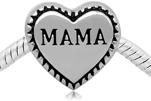 Buckets of Beads Stainless Steel Mama Heart Charm Bead