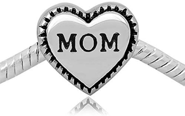 Buckets of Beads Stainless Mom Heart Charm Bead