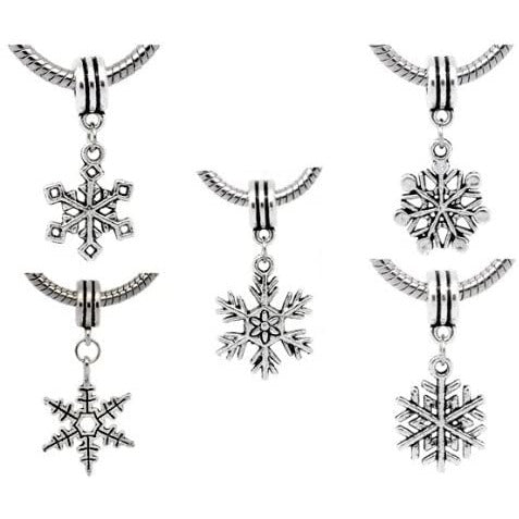 Pack of 5 Antique Silver Finish Snowflake Christmas Dangle Charm Beads