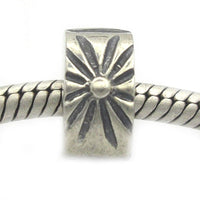 2 Piece Set of Antique Silver Tone Sunburst Clip Lock Stopper Bead