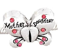 Pink Rhinestone Mother Daughter Butterfly Charm Bead