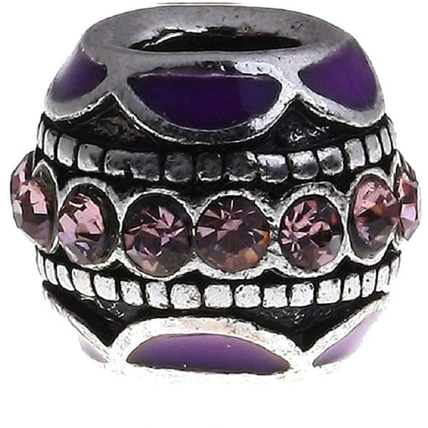 Buckets of Beads Purple Enamel Stones Charm Bead