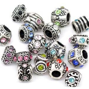 Five (5) Pack of Assorted Antique Silver Tone Crystal Rhinestone Charm Beads