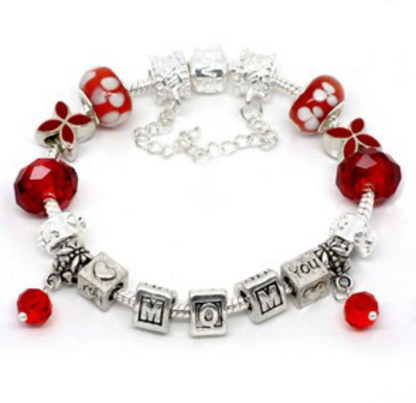 Red Mothers Day  Bracelet