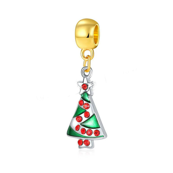 Buckets of Beads Gold and Silver Red Rhinestone Christmas Tree Charm Bead