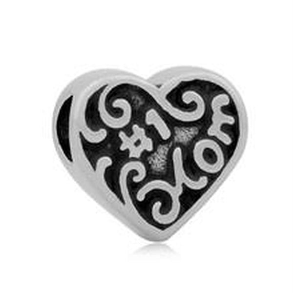 Stainless Steel Heart Shaped #1 Mom Charm Bead
