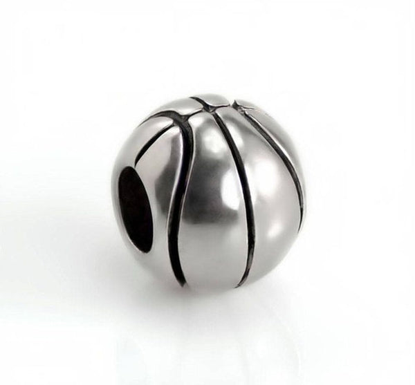 Stainless Steel Basketball Charm Bead