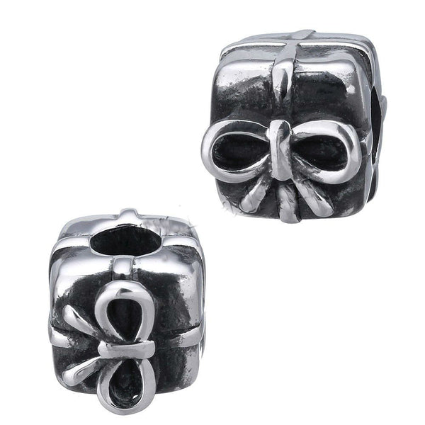 Stainless Steel Christmas Gift Box Charm Bead
