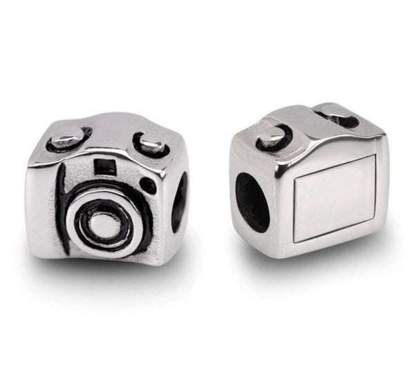 Stainless Steel Camera Charm Bead