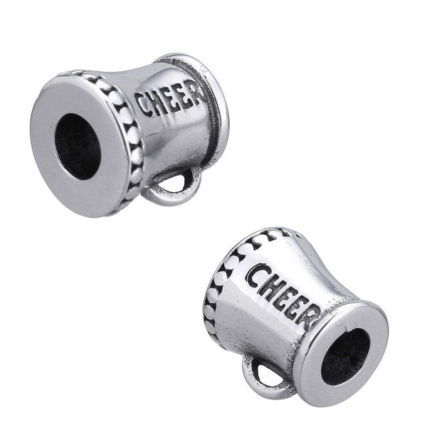 Stainless Steel Cheerleader Megaphone Charm Bead