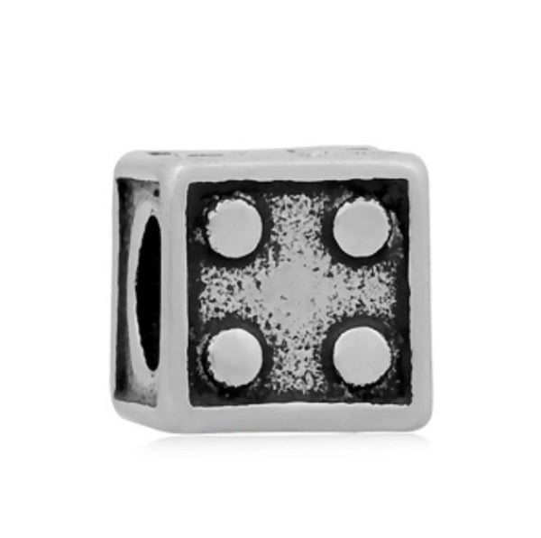 Stainless Steel Casino Dice Charm Bead