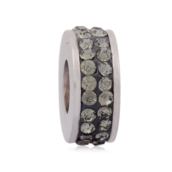 Stainless Steel Grey Rhinestones Charm Bead