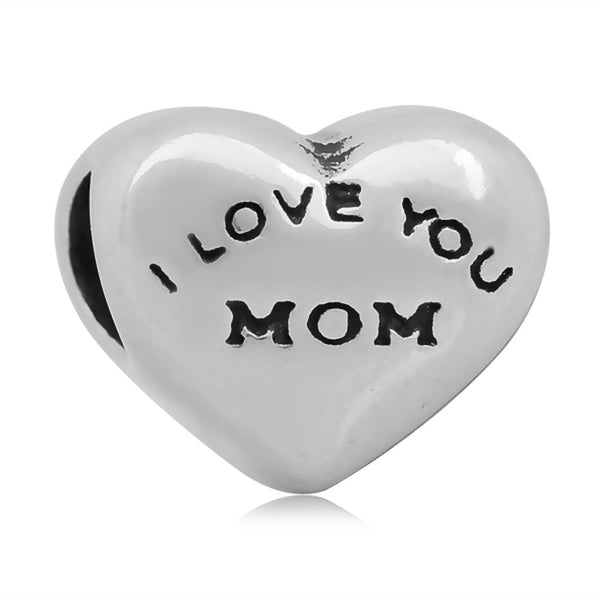 Stainless Heart Shaped I Love You Mom Charm Bead