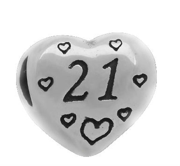 Stainless Heart Shaped Number 21 Charm Bead