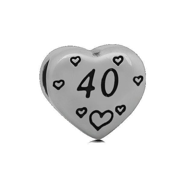 Stainless Heart Shaped Number 40 Charm Bead