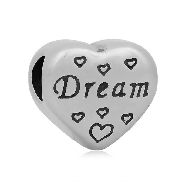 Stainless Heart Shaped Dream Charm Bead