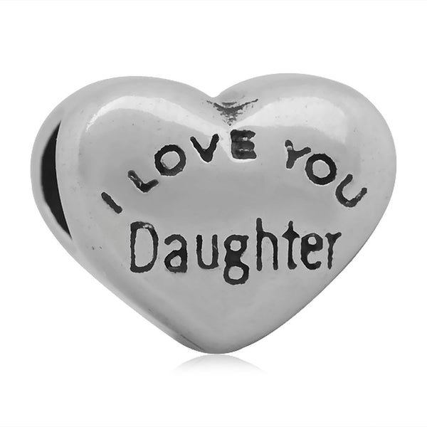 Stainless Heart Shaped I Love You Daughter Charm Bead