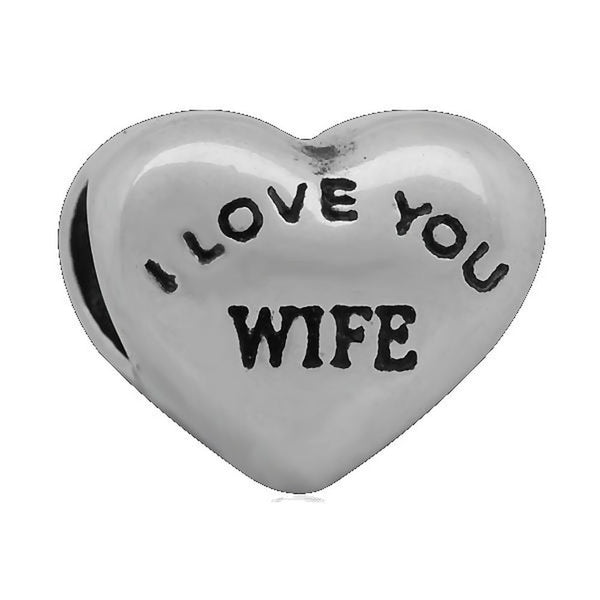 Stainless Heart Shaped I Love You Wife Charm Bead