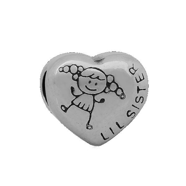 Stainless Heart Shaped Lil Sister Charm Bead