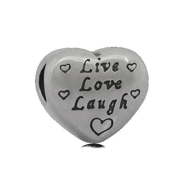 Stainless Heart Shaped Live Love Laugh Charm Bead