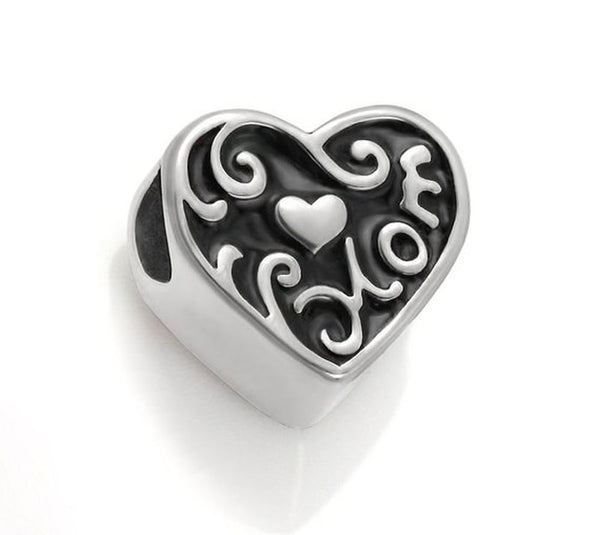 Stainless Steel Heart Shaped Mom Charm Bead